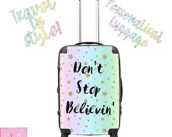 rainbow stars suitcase, rainbow suitcase, stars bag, stars luggage, custom luggage, customised luggage, custom bag, personalised bag, gift