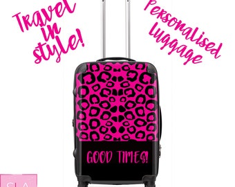leopard suitcase, pink leopard suitcase, pink luggage, leopard luggage, personalised luggage, personalised luggage, custom luggage, gift