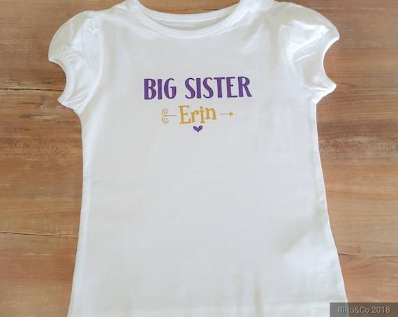 Grande soeur tenue Sis grande chemise grande soeur cadeau de bébé grande soeur chemise grande soeur cadeau personnalisé cadeau nouveau bébé cadeau de naissance