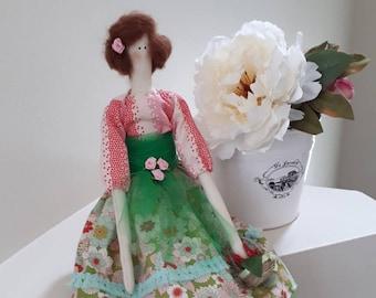 Handmade doll, Tilda doll, Decorative Doll, Shabby Chic, Nursery, Little Girl toys, Shabby Cloth dolls.Fabric Doll, bird, KC008