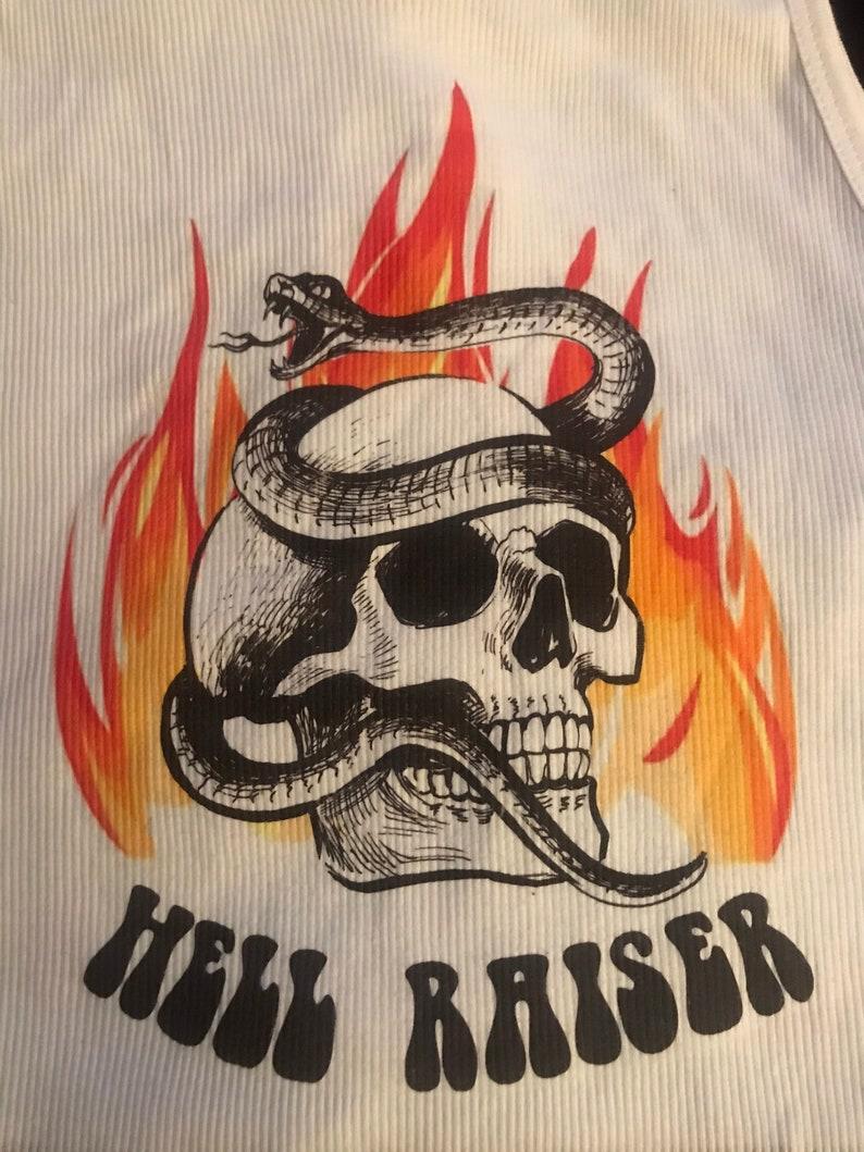 wicked souls,ghost riders. Vintage hell raiser crop top tank top metal lovers 70s skull snake