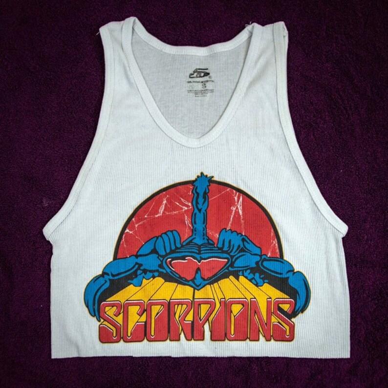classic rock tank top. Vintage the scorpions white tank top the scorpions crop top,heavy metal