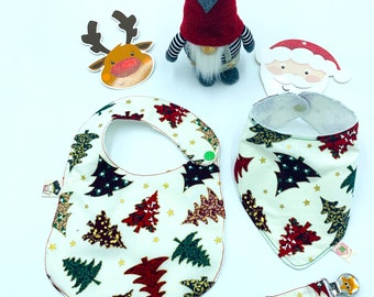 Baby Christmas Set 3 Pieces Babero, Bandana, Chupetero