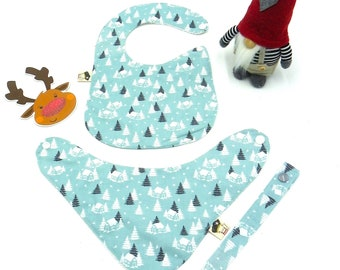 Baby set 3 pieces (babero, bandana ,chupetero) design snowy cottages