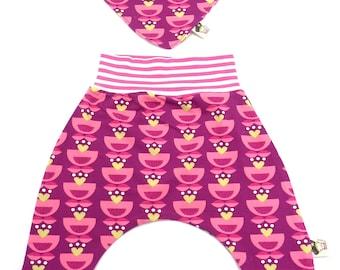 Set organic cotton baby trousers and reversible bandana