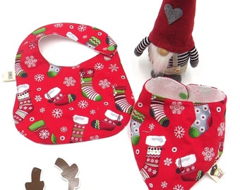 Set 2 pieces (bib,bandana) design Christmas socks