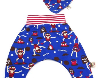 Set organic cotton baby trousers and Circus reversible bandana