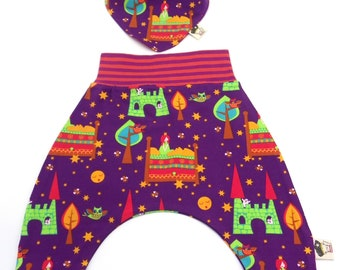 Set organic cotton baby trousers and reversible bandana i count the princess and pea.