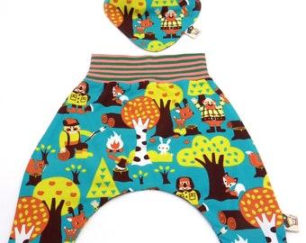 Set organic cotton baby trousers and reversible bandana Lumberjacks