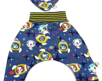 Set organic cotton baby trousers and reversible bandana astronaut dogs