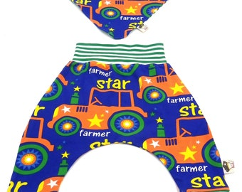 Set organic cotton baby trousers and reversible bandana 0-6 months