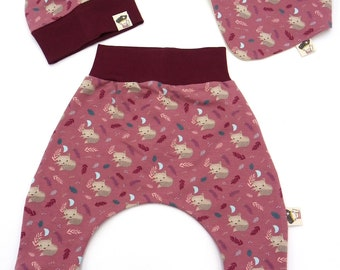 Set baby foxes winter pink 3 pieces