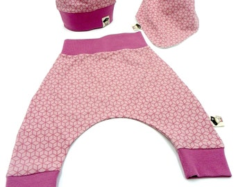 Baby set 3 pieces geometric pink