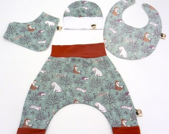 Set of baby harem trousers 4 pieces patterned forest