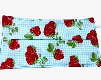 Reusable cotton mask model strawberries