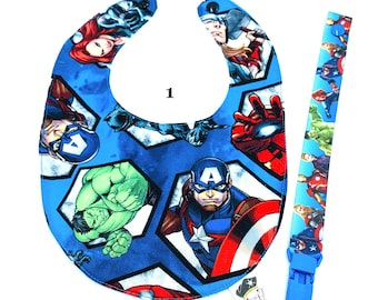 Set bib and pacifier Super heroes Marvel
