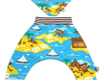 Organic cotton set trousers and bandana Treasure Island