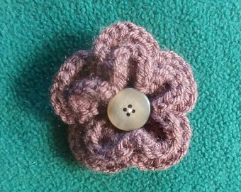 Brown Double Flower Hair Barrette, Crochet