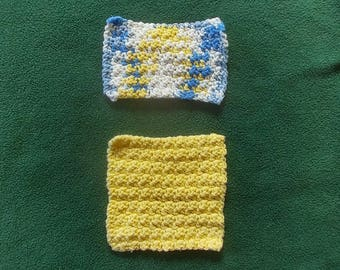Set of Two Washcloths, Yellow, Blue and White