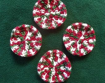 Set of 4 Red, White and Green Sparkle Coasters