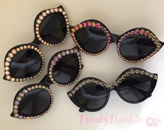 Crystal Cateye Sunglasses