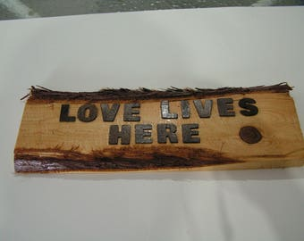 signs,cedar,wood,michigan,upper peninsula,great lakes,3d,love.bark,home decor,house,wall,shop,office.living.