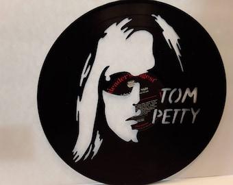 Tom Petty hand cut vinyl record.