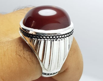 Men/'s Rectangular Silver Yemeni Aqeeq Akik Ring Carnelian Agate Ring Design Red Yamni Akik Ring Shifat Al Abad Handmade 925 Sterling Silver