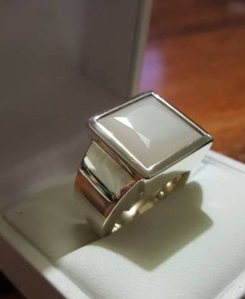 Natural Deep White Yemeni Aqeeq Ring Yamni Akik Ring Handmade Ring For Mens  925 Sterling Silver Ring Shifat Al Abad White Yaman Akik Ring