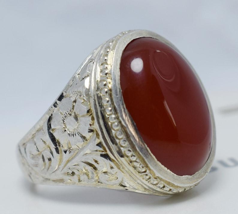Natural Dark Bown Blood Red Yemeni Aqeeq Ring Yemen Akik Yamni Aqiq 925  Sterling Silver Kabadi Agate Bague Silver Bague Shifat Al Abad