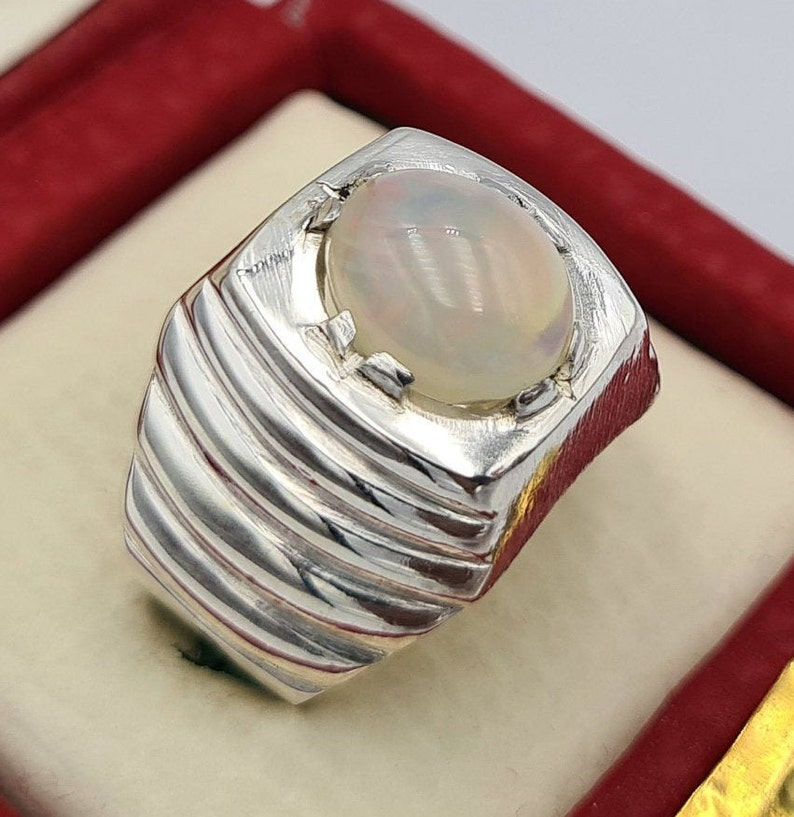 Unique Opal Ring Australian Opal Stone Handmade Silver Jewelry Gift For Him Natural White Opal Gifts Jewellery Easter Gifts Man stone ring