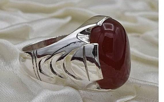 Natural Yemeni Brown Aqeeq Mens Ring Sterling Silver 925 Handmade Carnelian Ring