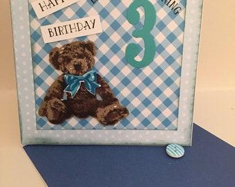 Baby Bear Happy Birthday Card, Look who's turning 3!