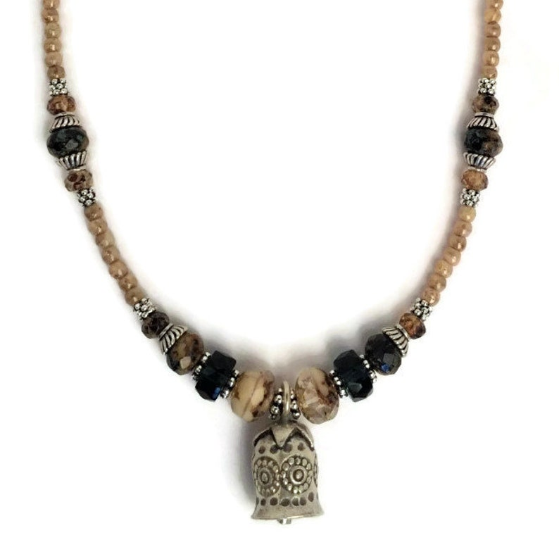 Earthy Rustic Artisan Jewelry Champagne Faceted Glass Beads Hill Tribe Silver Necklace