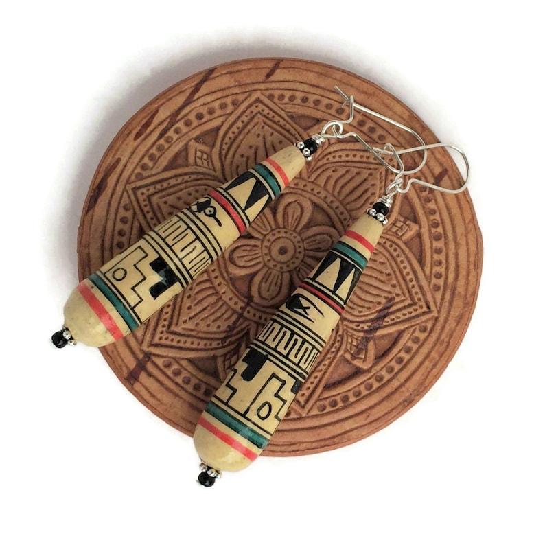 Peru Clay Bead Earrings Colorful Handpainted Folk Art Jewelry Multicolor Boho Hippie Earrings Sterling Silver Long Teardrop Dangles