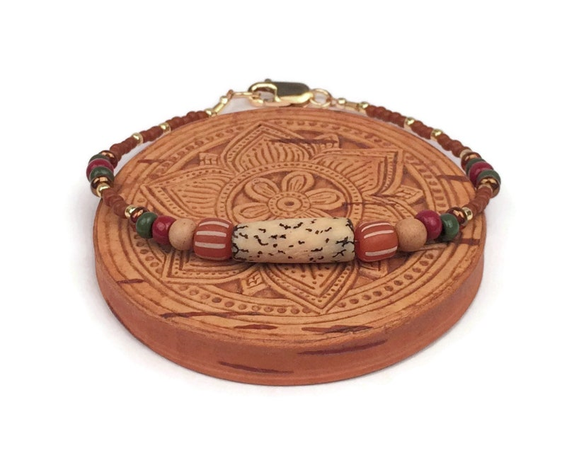 Real Bone Stacking Bracelet Burnt Orange Turquoise Seed Bead Jewelry 14K Gold Filled Hippie Beads