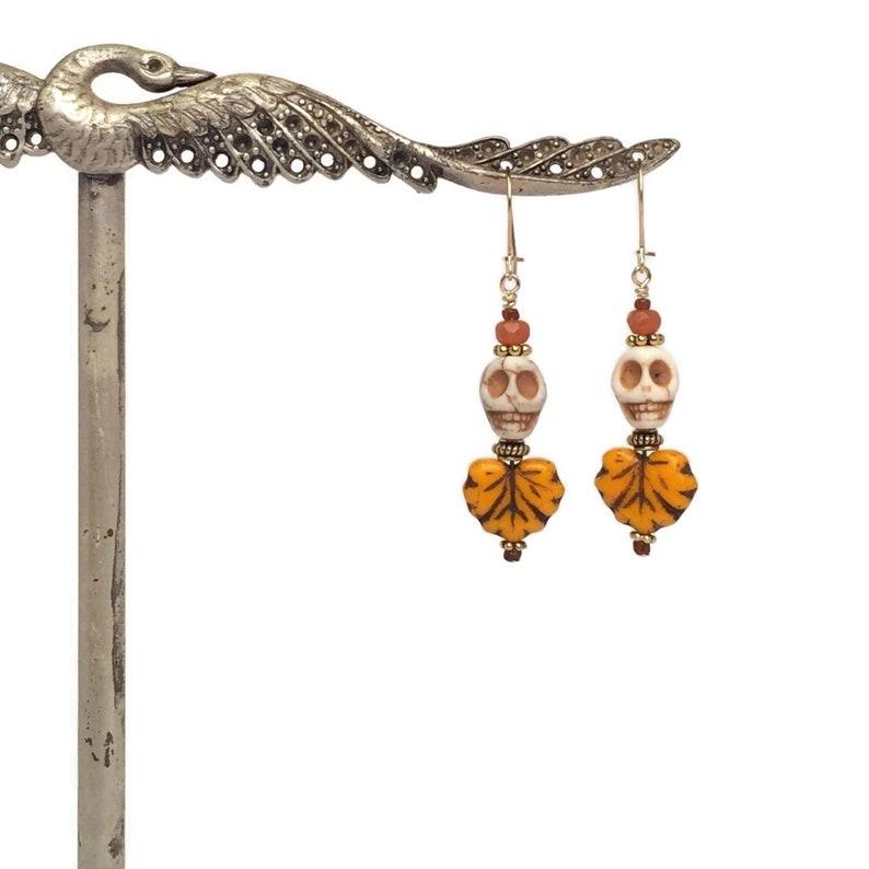 14k Gold Filled Skeleton Dangles Pumpkin Orange Autumn Leaf Jewelry Creative Handmade Glass Bead Earrings Halloween Skull Earrings