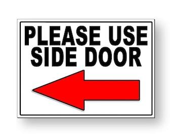 graphic regarding Please Use Other Door Sign Printable identify Utilized aspect doorway Etsy
