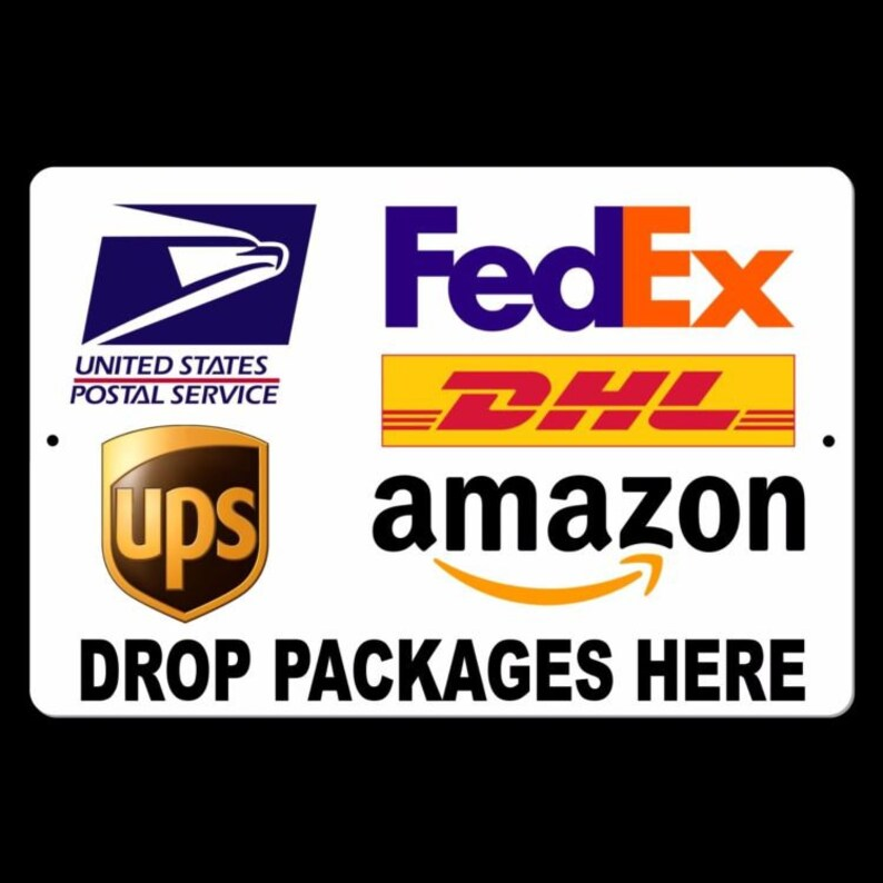 d600ca0964e6 Delivery Instructions Drop Package Here Sign METAL 5 SIZES usps fedex  amazon ups MS022