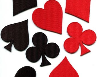 Lot of 8 playing cards diamonds spades clubs poker applique iron-on patches