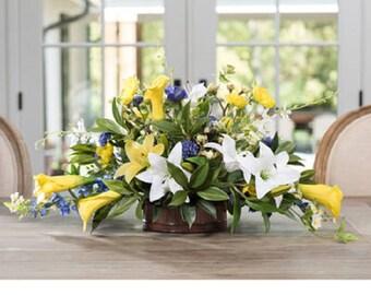 Lilies & Delphinium Centerpiece