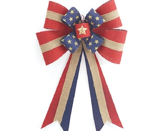 Patriotic Burlap Bow