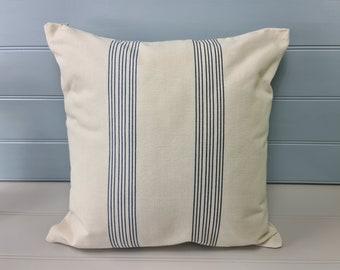 Nautical blue striped cushion 45cm//18in square