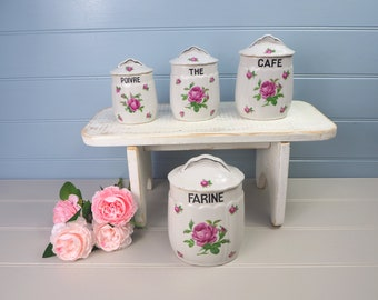French vintage Rose design Set four large kitchen storage jars with silver trim handles Canisters Shabbychic Retro kitchen Traditional Gift