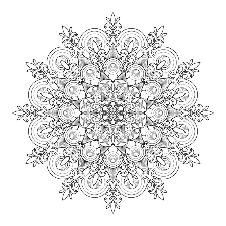 Mandala Ad 177 Fleur De Lis Circles Coloring Page Digital Etsy