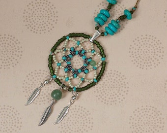 Native american style pendant, Dreamcatcher beads jewelry, 2 colours available, Gold black blue silver green, Boho hippie, Feathers pendant