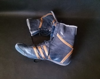 7ea2255c6 Vintage Boxing boots 90s ADIDAS Dark Blue Leather boots Adidas sneakers Man  cave décor Sport room décor Vintage Sports decor Gift for boxer