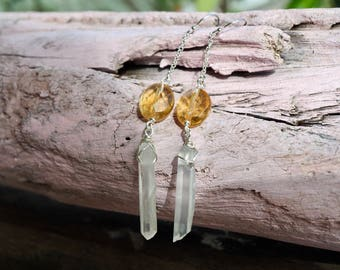 Crystal point and citrine nuggets