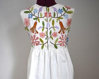Vintage Henri Bendel White Embroidered Maxi Dress XS