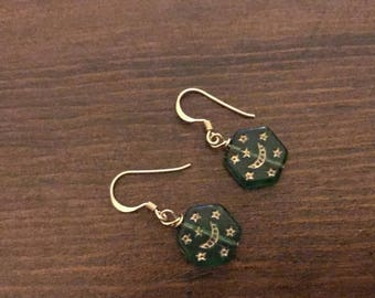 Green ethnic silver earrings